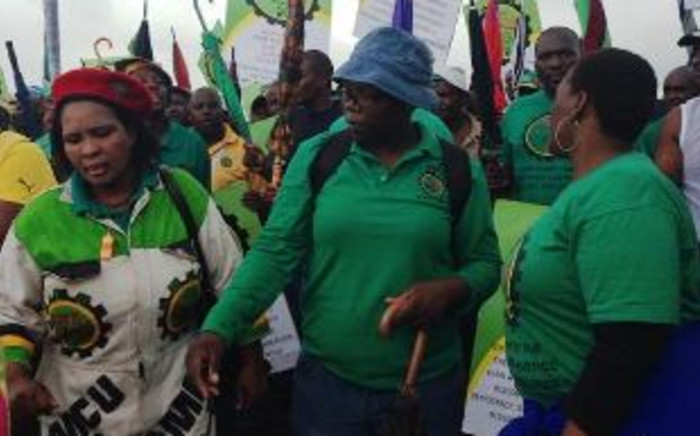 Hundreds of Amcu members have gathered in Marabastad in Pretoria ahead of their march to the Union Buildings. Picture: Mia Lindeque.