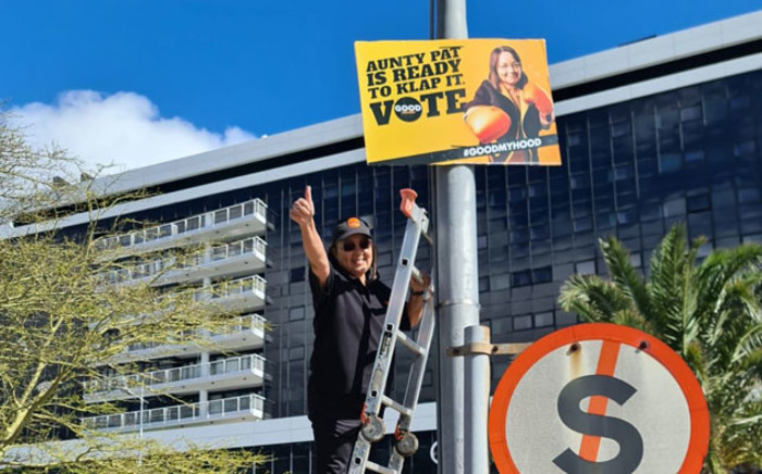 Good Party leader Patricia de Lille puts up her party's elections posters in the Cape Town CBD on 16 September 2021. Picture: @ForGoodZA/Twitter