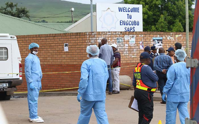 Forensic pathology officers at the scene where police officers were killed when armed men attacked the Ngcobo police station in the Eastern Cape on 21 February 2018. Picture: Gallo Images/Sowetan/Michael Pinyana