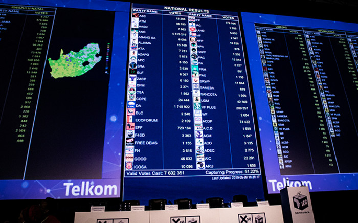 FILE: The IEC results board at the 50% mark on 9 May 2019. Picture: Xanderleigh Dookey/EWN