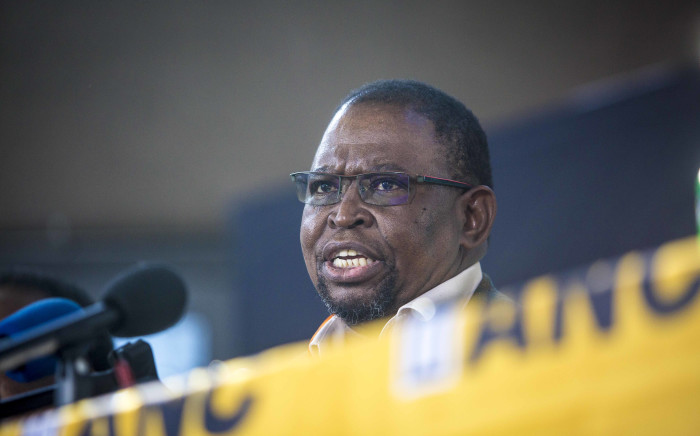 Deputy Minister of Public Enterprises Enoch Godongwana addresses the media on issues of land redistribution and ownership of the Reserve Bank at the ANC NPC. Picture: Thomas Holder/EWN