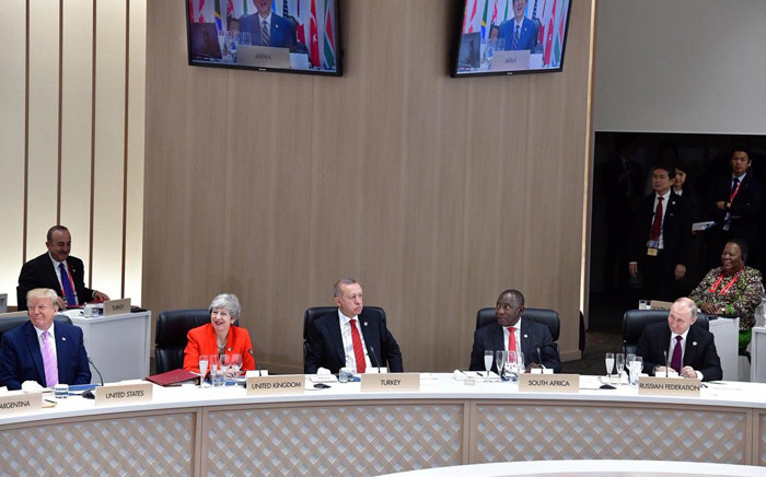 World leaders attending the G20 summit opening session on 28 June 2019 in Osaka, Japan. From L-R: US President Donald Trump, UK Prime Minister Theresa May, Turkish President Recep Tayyip Erdogan, South African President Cyril Ramaphosa, and Russian President Vladimir Putin. Picture: @PresidencyZA/Twitter