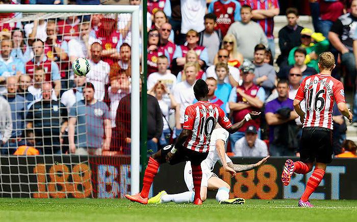 Southampton's Sadio Mane scored the fastest ever Premier League hat-trick against Aston Villa on 16 May 2015. Picture: Premier League.
