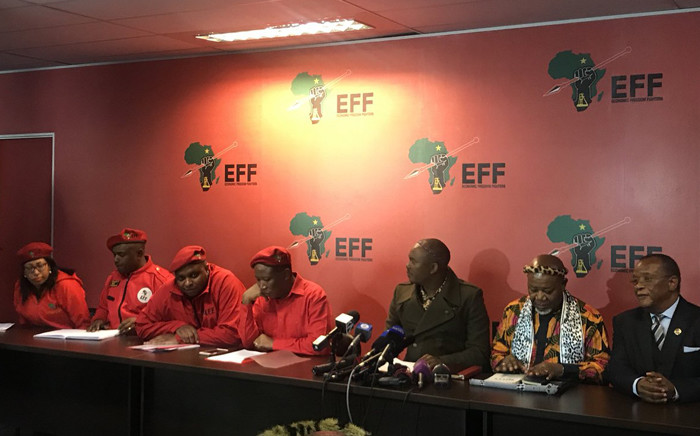 Contralesa held a press briefing in Johannesburg with the EFF on 5 July 2018 where it announced that it agrees with the party that Section 25 of the Constitution must be amended to allow for expropriation of land without compensation. Picture: Clement Manyathela/EWN