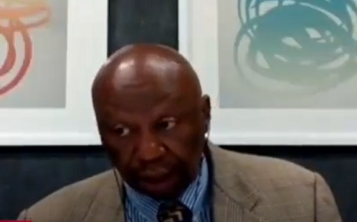 A screenshot of former Transnet board chair Mafika Mkhwanazi at the state capture commission on Friday 16 October 2020. Picture: SABC Digital News/Youtube