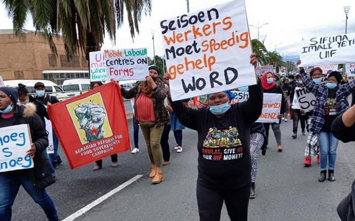 Farmworkers protest during a UIF Indaba in Worcester on 6 May 2021. Picture: Supplied