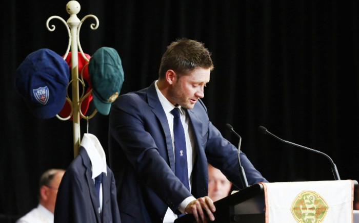 Australian cricket captain Michael Clarke speaks to pay his respect to Phillip Hughes during Hughes' Funeral Service in Macksville, Australia, 03 December 2014. Picture: EPA.