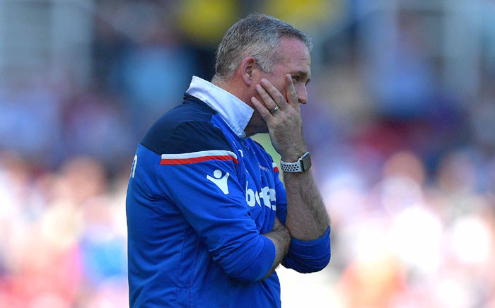 Stoke City manager Paul Lambert reacts after his ailing side defeat against Crystal Palace during their Premier League clash. Picture: @stokecity/Twitter.