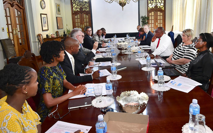 President Ramaphosa meets the Eskom Sustainability Task Team at his official residence in Pretoria on 15 January. Picture: GCIS