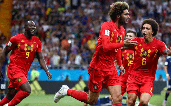 Belgium players react after their Fifa World Cup victory over Japan on 2 July 2018. Picture: @FIFAWorldCup/Twitter