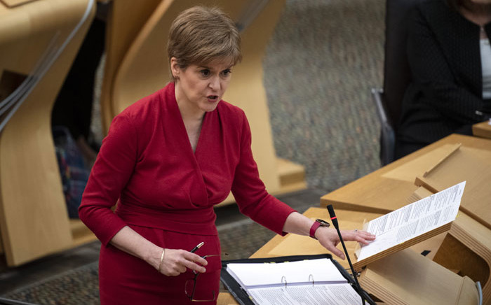 Scotland's First Minister Nicola Sturgeon reacts as she attends the First Minister's Questions session at the Scottish Parliament in Holyrood, Edinburgh on 26 November 2020. Picture: AFP