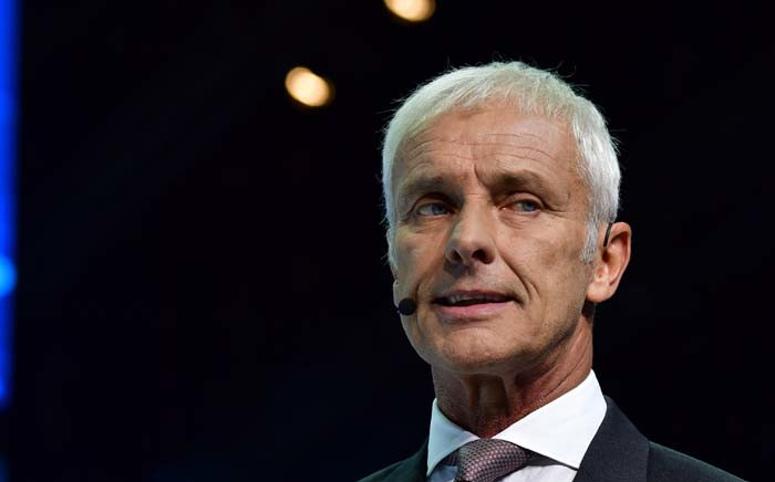 CEO of German carmaker Volkswagen Matthias Mueller delivers his speech during a Volkswagen preview night for the media on the eve of the opening of the Internationale Automobil Ausstellung (IAA) motor show in Frankfurt am Main, western Germany, on 11 September 2017. Picture: AFP