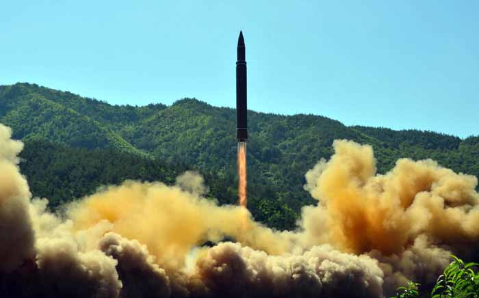 FILE: This picture taken on 4 July 2017 shows the successful test-fire of the intercontinental ballistic missile Hwasong-14 at an undisclosed location. Picture: AFP.