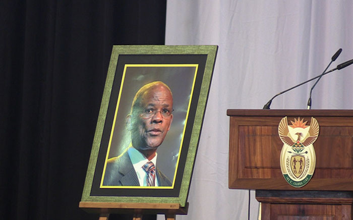 A portrait of ANC veteran Dr Zola Skweyiya stands at the memorial service held for him in Pretoria. Picture: Kayleen Morgan/EWN