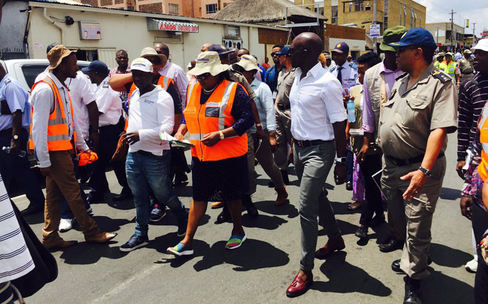 Home Affairs Minister Malusi Gigaba leads a delegation in Yeoville following weekends of unrest reportedly caused growing tensions between locals and immigrants. Picture: Twitter/@mgigaba