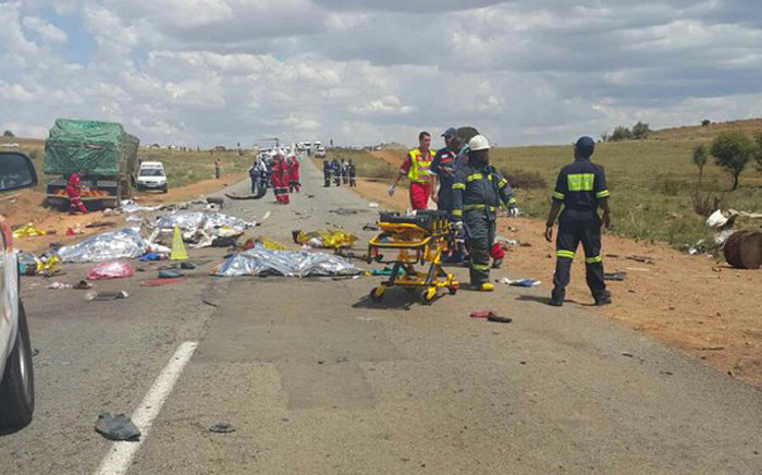 FILE. At least 15 people were killed in a crash involving a taxi and a truck on the R28 near Westonaria. Picture: Arrive Alive @_ArriveAlive.