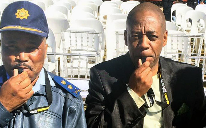 FILE: Gauteng Deputy Police Commissioner Major-General Phumzo Gela (Left) and Gauteng CPF chairman Andy Mashaile blow the whistle on crime at an anti-crime event in Reiger Park on 24 August 2014. Picture: Crime Line