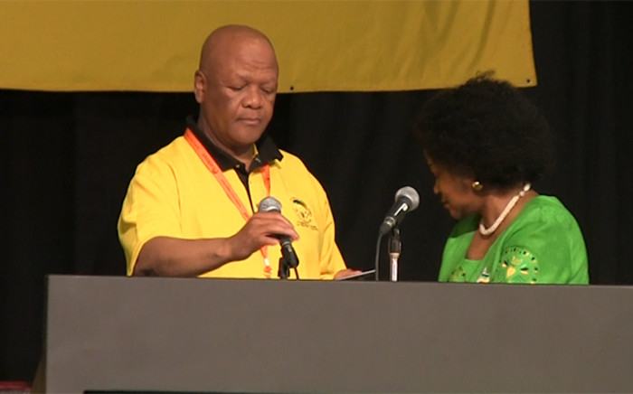 ANC policy head Jeff Radebe about to give the parties declaration speech at the NGC on Sunday. Picture: Kgothatso Mogale/EWN