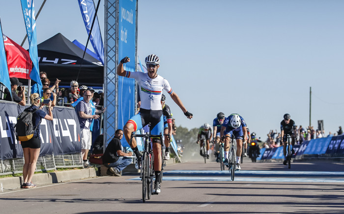 Marc Pritzen at the finish line of the Discovery 947 Ride Joburg cycle race on Sunday 17 November 2019. Picture: Primedia