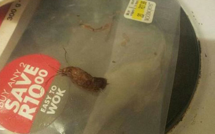 A Woolworths customer found a dead insect inside a pack of noodles she bought at a Gauteng branch earlier this month. Picture: Twitter via @rory_story.