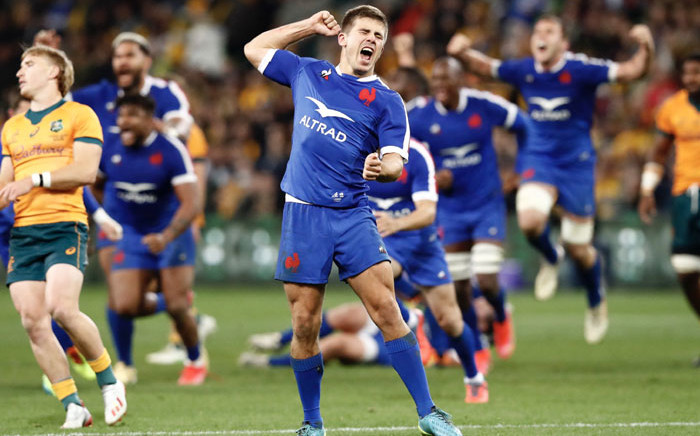 France players celebrate their win over the Wallabies on 13 July 2021. The win is their first on Australian soil in 31 years. Picture: @FranceRugby/Twitter