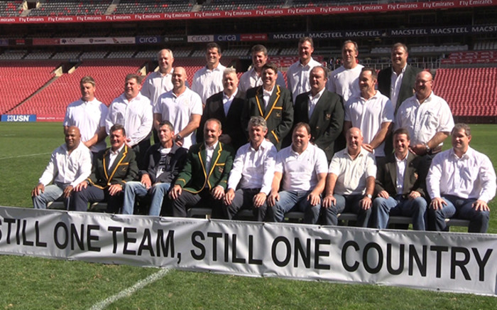 The 1995 Rugby World Cup winning Springbok team reunited at Ellis Park 20 years after their famous victory over New Zealand. Picture: Vumani Mkhize/EWN.