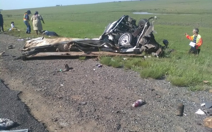 A vehicle at the scene of an accident on the N3 on Sunday 6 January. Picture: Free State Health/Twitter