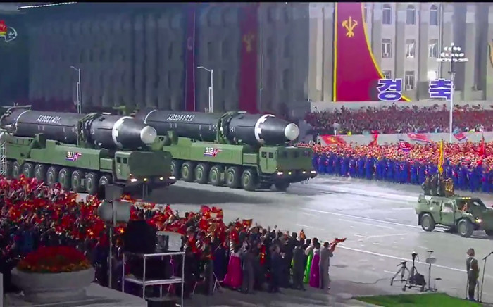A screen grab taken from a KCNA broadcast on 10 October 2020 shows what appears to be new North Korean intercontinental ballistic missiles during a military parade marking the 75th anniversary of the founding of the Workers' Party of Korea, on Kim Il Sung square in Pyongyang. Picture: AFP.