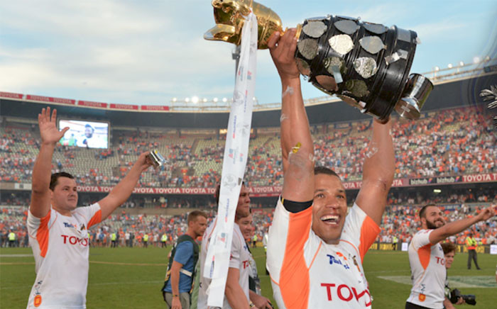 The Cheetahs celebrate after winning the 2016 Currie Cup. Picture: @TheCurrieCup.