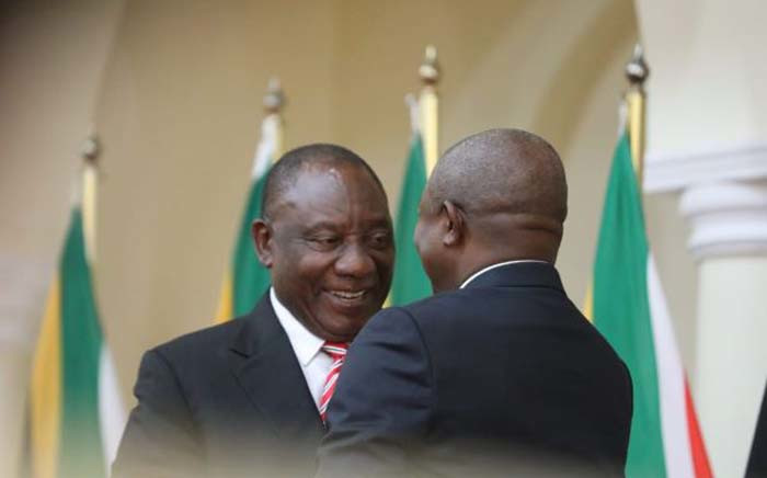 President Cyril Ramaphosa congratulates his deputy David Mabuza after he was sworn in as a member of Cabinet on 30 May 2019. Picture: Kayleen Morgan/EWN