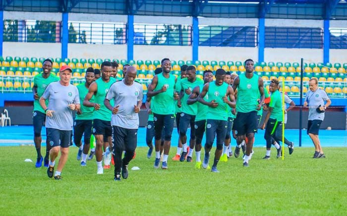 The Nigeria soccer team training ahead of the kick-off of the 2019 Africa Cup of Nations. Picture: Twitter/@NGSuperEagles
