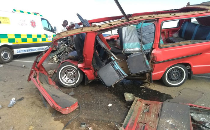 Paramedics say the taxi had been completely ripped open in the collision and 17 of its occupants were found scattered around the scene in Centurion. Picture: @ER24EMS.