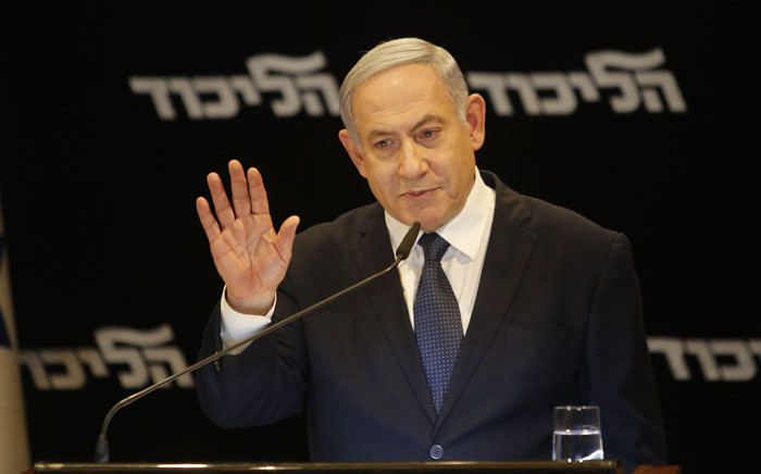 Israeli Prime Minister Benjamin Netanyahu speaks at a press conference regarding his intention to file a request to the Knesset for immunity from prosecution, in Jerusalem on 1 January 2020. Picture: AFP