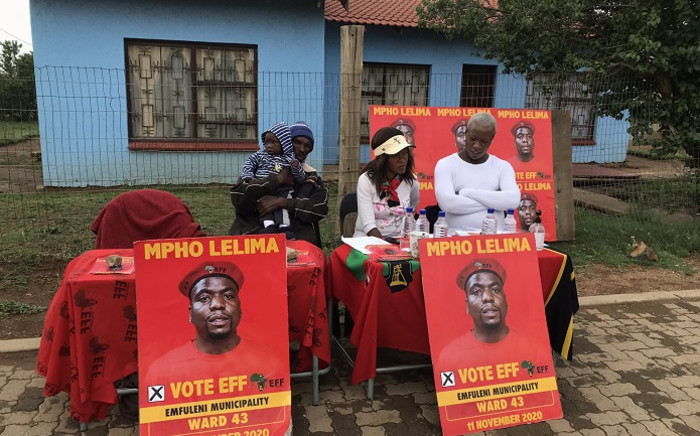 EFF party agents in Evaton monitoring voting during by-elections on 11 November 2020. Picture: Thandokuhle Kubheka/EWN.