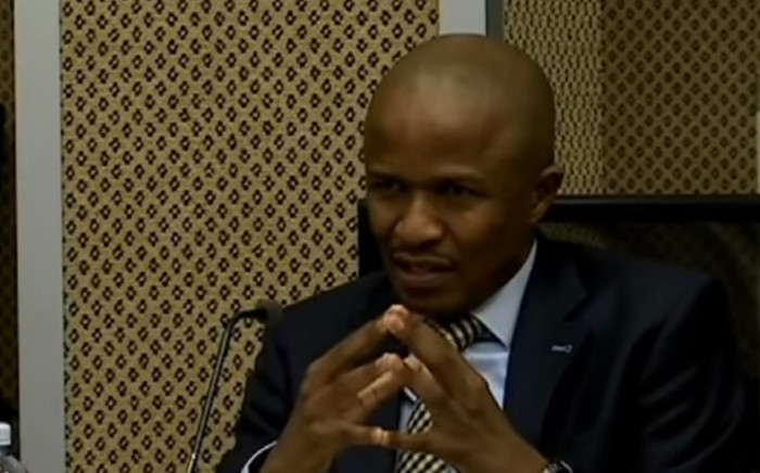 A screengrab of Sars executive Luther Lebelo giving testimony at the Nugent Commission of Inquiry on 27 September. Picture: YouTube