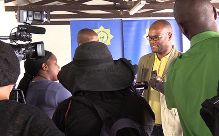 Police Minister Nathi Mthethwa addresses journalists at the Diepsloot police station on Sunday 9 February 2014. Picture: Vumani Mkhize/EWN