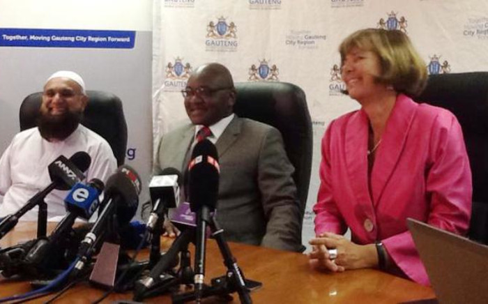 Gauteng Premier David Makhura and his team at the E-toll panel briefing on 15 January, 2015. Picture: Mia Lindeque/EWN