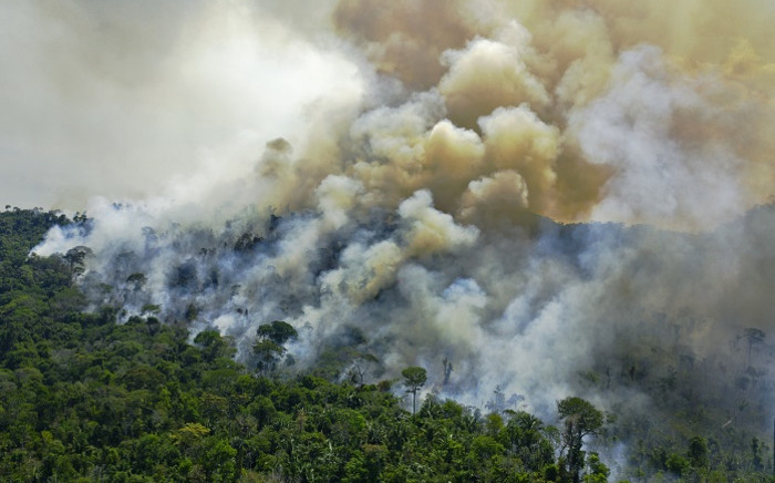 Aerial view of a burning area of Amazon rainforest reserve, south of Novo Progresso in Para state, on 16 August 2020. Picture: AFP.