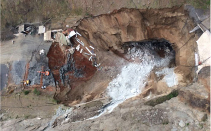 Aerial view of the portion Lily Mine which collapsed on 5 February 2016. Picture: Barberton Times