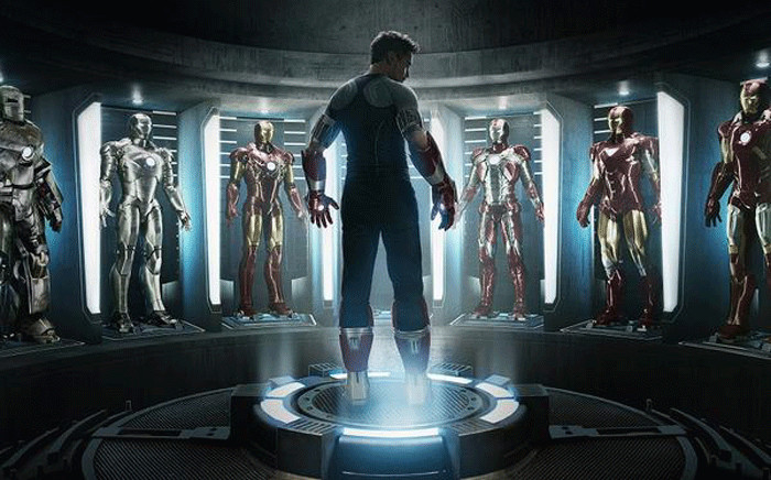 Robert Downey Jr in the movie 'Iron Man 3' surrounded by Iron Man suits. Picture: @Iron_Man/Twitter.