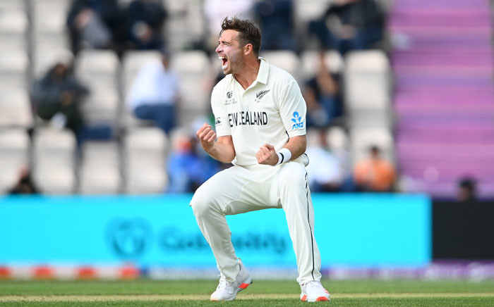 New Zealand's Tim Southee celebrates the fall of a wicket on day 5 of the World Test Championship final in Southampton, England on 22 June 2021. Picture: @ICC/Twitter
