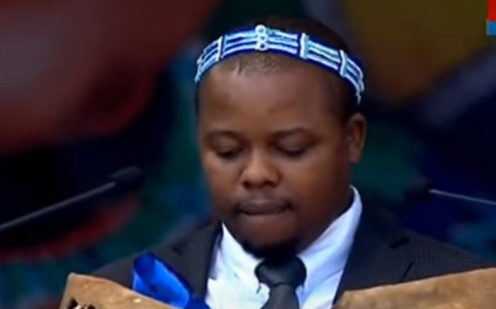 A screengrab of AbaThembu Prince Azenathi Dalindyebo delivering a speech during Winnie Madikizela-Mandela's funeral service on 14 April 2018. Picture: SABC/YouTube
