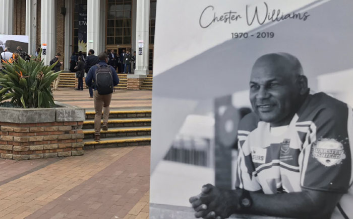 A poster of Chester Williams at the UWC campus where a memorial service was held on 11 September 2019 for the former Springbok World Cup-winning winger. Picture: Kevin Brandt/EWN