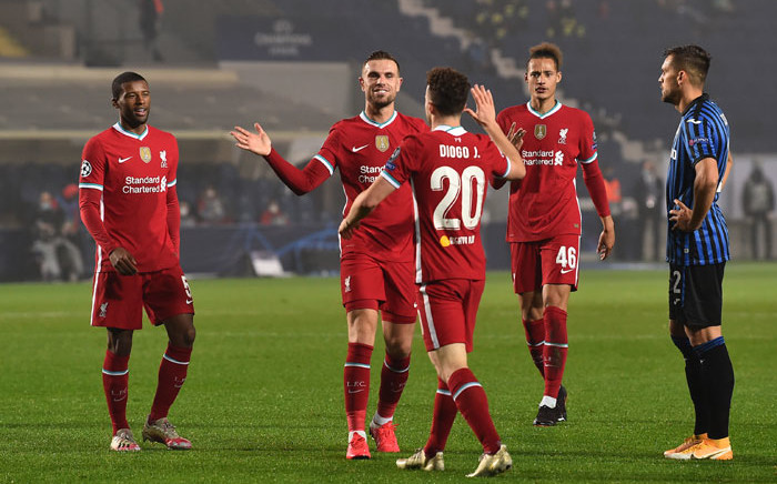 Liverpool players celebrate a goal with Diogo Jota during their UEFA Champions League match against Atalanta on 3 November 2020. Picture: @LFC/Twitter