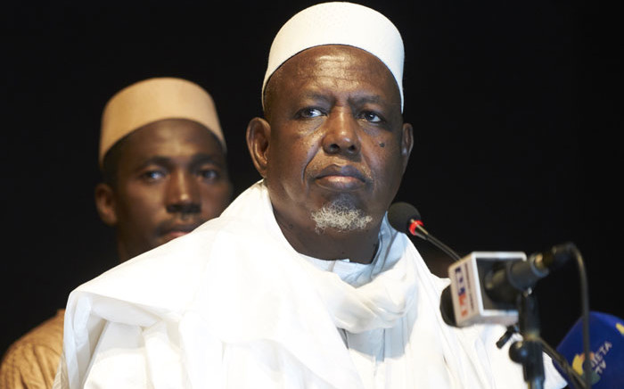 FILE: Malian imam and former head of the High Islamic Council of Mali (HCIM), Mahmoud Dicko (C) gives a speech during the official launch of his movement, the 'Coordination of movements, associations and sympathisers' (CMAS) on 7 September 2019 in Bamako. Picture: AFP