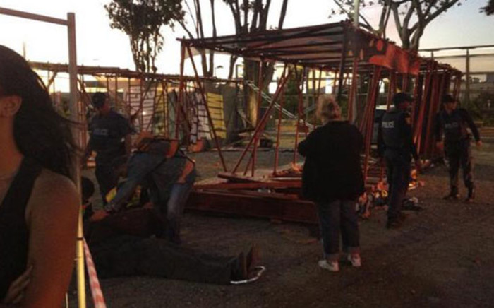 The scaffolding that fell at a Linkin Park Concert in Cape Town. Picture: The Hubb