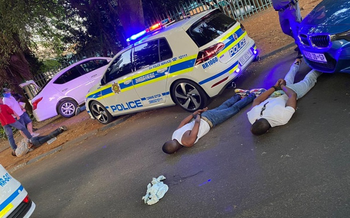 Four suspects were arrested outside The Nicol in Bedfordview on 24 September 2020 in connection with high end jewellery robberies. Picture: Supplied.
