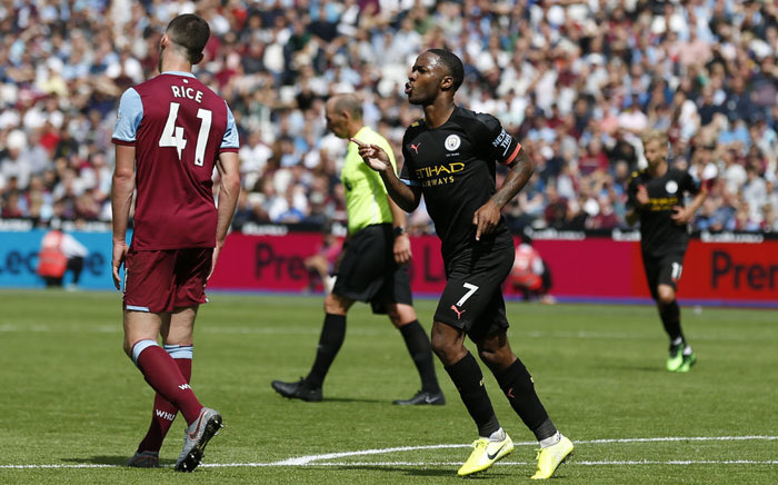 Manchester City midfielder Raheem Sterling (C) celebrates scoring his side's third goal during the English Premier League football match against West Ham United at The London Stadium, in east London on 10 August 2019. Picture: AFP