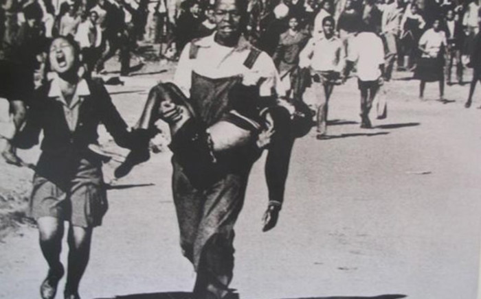The iconic photo of Hector Pieterson being carried on 16 June 1976 during the Soweto uprising. Picture: Sam Nzima.