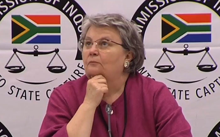 FILE: A video screengrab of Barbara Hogan appearing at the Zondo Commission of Inquiry into state capture on 12 November 2018.